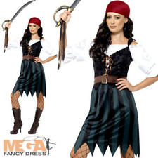 Pirate Deckhand Ladies Fancy Dress Buccaneer Caribbean Womens Adults Costume New