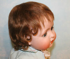 Brown/ Blonde mohair wig Vintage Antique German baby toddler doll Size 12-13