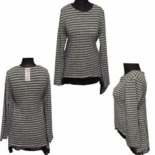 Womens Wool Dogtooth Print Lace Trim Lagenlook Long Sleeve Layered Blouse Top