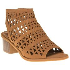 New Womens SOLE Tan Billie Synthetic Sandals Gladiators Elasticated