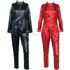 Women Wetlook Vinyl PVC catsuit bodysuit Jumpsuit clubwear Zipper Front Costume