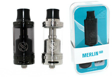 Genuine Augvape Merlin RTA Rebuildable Tank Atomizer 4ml Stainless Steel & Black