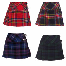 "New Ladies Scottish 13"" Billie Kilt Mod Skirt Range of Tartans Sizes 6-18 BNWT"