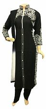 Indian Pakistani Black Rayon Suit, Casual Stitched Salwar Kameez Shalwar