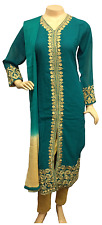 Indian Pakistani Green Georgette Trouser Suit, Casual Shalwar Kameez, Stitched