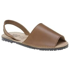 New Womens XTI Tan Palma Leather Sandals Flats Slip On