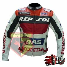 HONDA GAS REPSOL RED MOTORCYCLE MOTORBIKE COWHIDE LEATHER JACKET AND GLOVES
