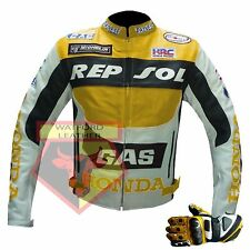 HONDA REPSOL GAS MOTORCYCLE MOTORBIKE YELLOW COWHIDE LEATHER JACKET AND GLOVES