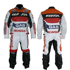 HONDA GAS REPSOL RED MOTORBIKE COWHIDE LEATHER 1 & 2 PIECE MOTORCYCLE BIKER SUIT