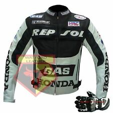 GAS REPSOL HONDA MOTORCYCLE MOTORBIKE BLACK COWHIDE LEATHER JACKET AND GLOVES