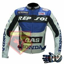 REPSOL HONDA GAS MOTORCYCLE MOTORBIKE BLUE COWHIDE LEATHER JACKET AND GLOVES