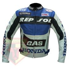 HONDA REPSOL GAS MOTORCYCLE MOTORBIKE GENUINE BLUE COWHIDE LEATHER JACKET