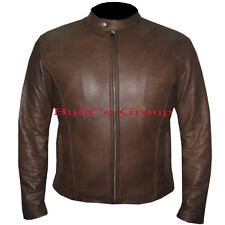 CLASSIC SLIM FIT FOR MENS BROWN COWHIDE LEATHER JACKET. FREE WORLDWIDE SHIPPING