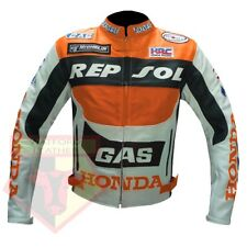 HONDA GAS REPSOL MOTORBIKE MOTORCYCLE ORANGE COWHIDE LEATHER BIKERS JACKET