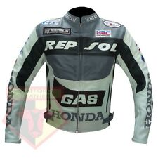 HONDA MOTORCYCLE GAS REPSOL MOTORBIKER COWHIDE LEATHER GREY ARMOUR JACKET