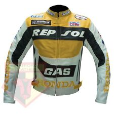 HONDA REPSOL GAS MOTORCYCLE MOTORBIKE YELLOW COWHIDE LEATHER BIKER JACKET