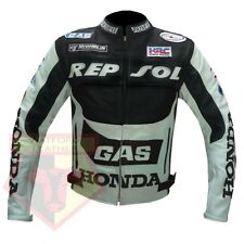 HONDA REPSOL GAS MOTORCYCLE MOTORBIKE BLACK COWHIDE LEATHER ARMOUR JACKET