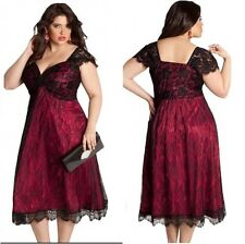 Plus Size Black/Maroon Lace Plunge Evening Skater Dress Party Prom Gala Dinner