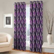 Warmland 2 PC Printed Polyester Eyelet  Window Curtain-Door Curtains-WDC35