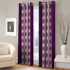 Warmland 2 PC Printed Polyester Eyelet  Window Curtain-Door Curtains-WDC28