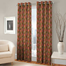 Warmland 2 PC Printed Polyester Eyelet  Window Curtain-Door Curtains-WDC11