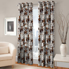 Warmland 2 PC Printed Polyester Eyelet  Window Curtain-Door Curtains-WDC41