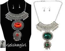 Tibetan Silver Red Green Crystal Pendant Boho Art Deco Earring Necklace Set UK