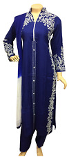 Indian Pakistani Blue Rayon Suit, Casual Salwar Kameez Shalwar, Stitched