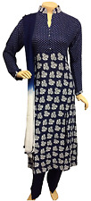 Indian Pakistani Blue Printed Rayon Suit, Casual Salwar Kameez Shalwar, Stitched