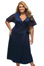 Plus Size Blue Casual Wrap Dress With Kimono Lace Sleeves