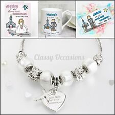 Personalised Holy Communion Gifts, Boys or Girls, Engraved Cross Bracelet, Card