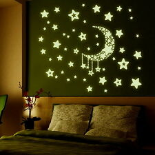 Y0015 Stars with Moon Radium/Glow in the Dark WallSticker JAAMSO ROYALS