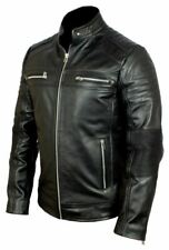 MEN LEATHER JACKET BLACK CAFE RACER GENUINE REAL LEATHER BIKER VINTAGE JACKET