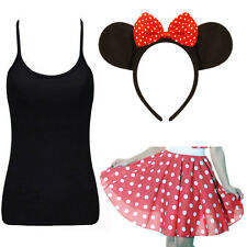 MINNIE MOUSE Fancy Dress Polka Dot Skirt  Aliceband EARS WITH RED BOW