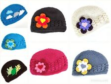 Busha Knitted Crochet Beanie Hat Baby Girls Age 3-6-9 Months Various Colours