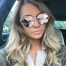 LUXE Rose Gold Mirrored Reflective Aviator Sunglasses Celeb DESIGNER Kylie MARBS
