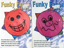 Funky Faces Smiley Kite With Flying Line & Tails by Spirit of Air 68cm Wingspan