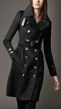 Women's Black Woolen Long Trench Coat BNWT