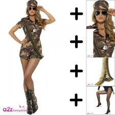 SEXY DELL'ESERCITO COSTUME + SPECS + TIGHTS + DOG TAGS + BULLET CINGHIA