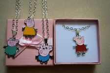 Peppa Pig George Mummy Daddy Collana Argento Placcato o Borsa
