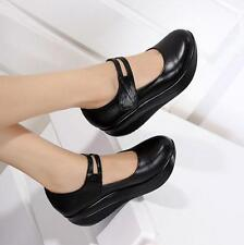 Womens Round Toe platform Wedge Heels Mary Janes Pumps Shoes Nurse strap Shoes