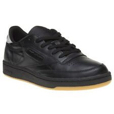New Womens Reebok Black Club C 85 Diamond Leather Trainers Court Lace Up