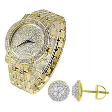 Mens Gold Tone Hip Hop Quartz Wrist Watch Earrings 2pc Set Techno Pave Studs 9mm