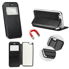 ^ Magnet View Flip Cover Case Handy Buch Tasche Hülle Fenster Leder Imitat Force