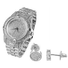Iced Out Techno Pave Watch Earrings White Gold Finish Simulated Diamonds Analog