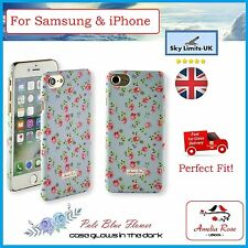 Pale Blue Flower Rubberised Floral Flower Back Case Cover  For Iphone & Samsung