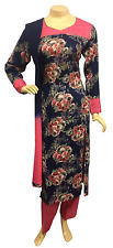 Indian Pakistani Floral Printed Rayon Suit Casual Stitched Salwar Kameez Shalwar