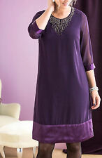 Cellbes PURPLE Bead Embellished Satin Panel Shift Dress Size 8/10 to 20/22