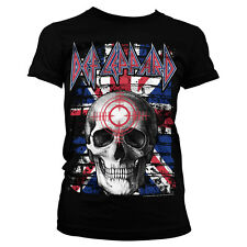 Officially Licensed Def Leppard Union Jack Skull Women T-Shirt S-XXL Sizes
