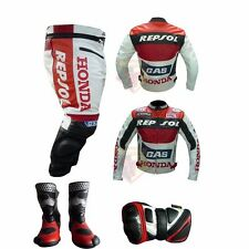 HONDA GAS REPSOL RED MOTORBIKE MOTORCYCLE BIKER 4 PIECE COWHIDE LEATHER SUIT